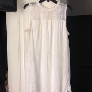White laced knee length dress